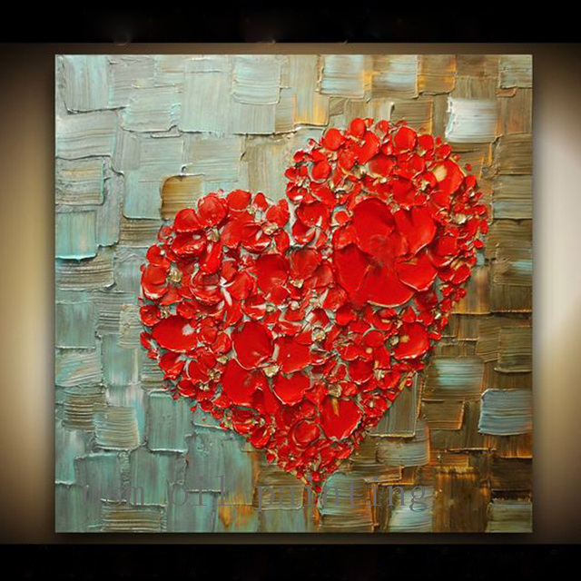 US $46 09 48% OFF|Handmade Abstract Thick Texture Flowers Art Red Heart  Painting Hand Painted Decorative Contemporary Fine Art Canvas Oil  Painting-in