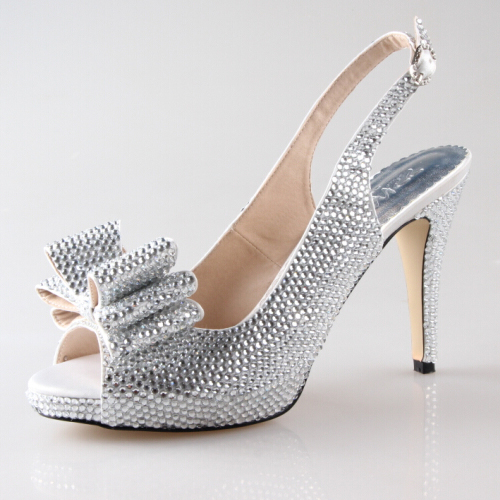 Handmade full rhinestone diamond clear silver slingback open toe shoes bridal wedding banquet sweet bowknot shoes big small size