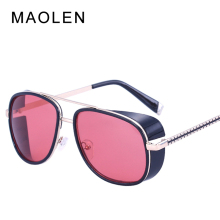 MAOLEN Mens Steampunk Sunglasses Iron Men Style Sun Glasses Retro Steam Punk Goggles Vintage Gafas gafas De Sol masculino Shades