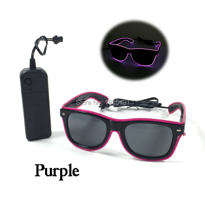 Promotion!Novelty Lighting Fancy Purple Led Neon Light Up Sunglasses With Button Switch Of EL Converter For Hiphop,Discos Club