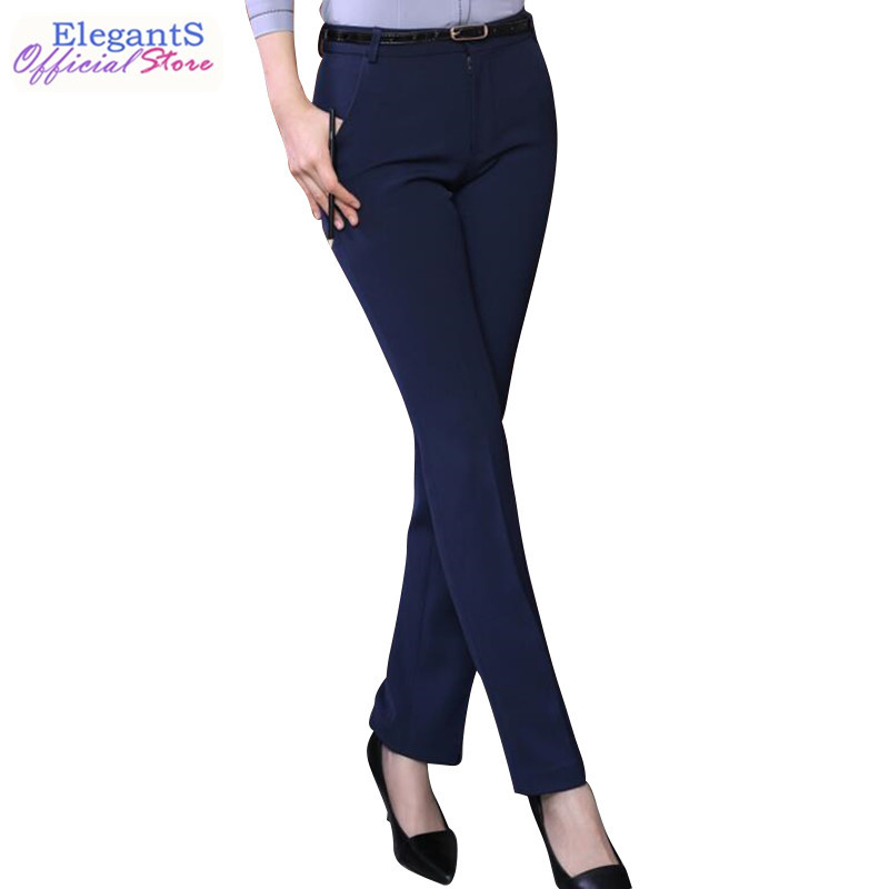 Women Formal Pants Office Lady Work Pants Casual High Waist Black