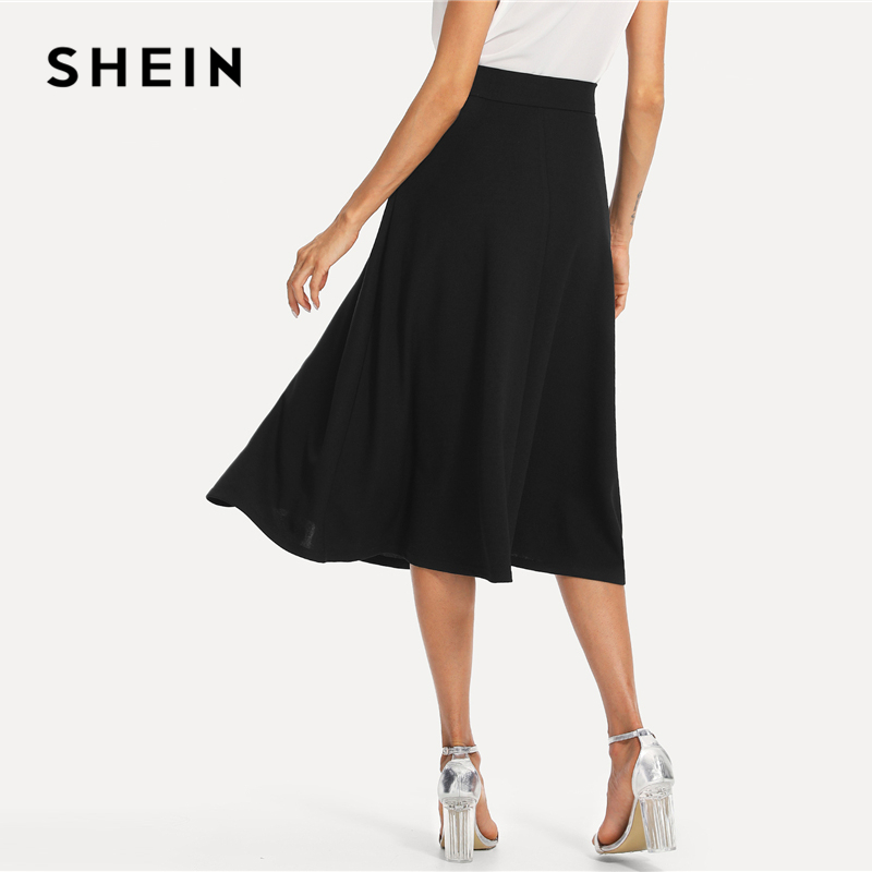SHEIN Black Elegant Slant Pocket Side Circle Mid Waist Long Skirt Summer Women Office Lady Workwear Solid Skirts 2