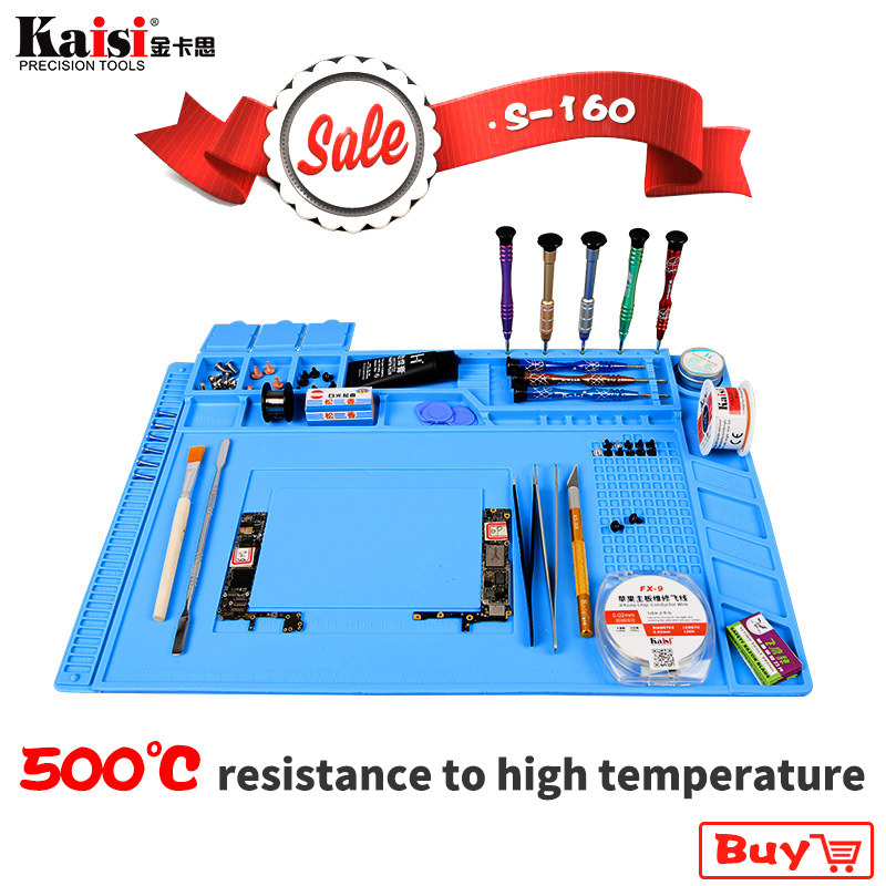 S-160 45X30cm Heat Insulation Silicone Pad Desk Mat Maintenance Platform For BGA Soldering Repair Station With Magnetic Section heat insulation silicone soldering pad repair maintenance platform desk mat 28x20cm r09 drop ship