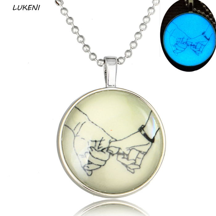 1Pcs/set Hot Sale Glass Moon Light Round Luminous plated Pendant Necklace Party Gift Fluorescent Glow In Dark