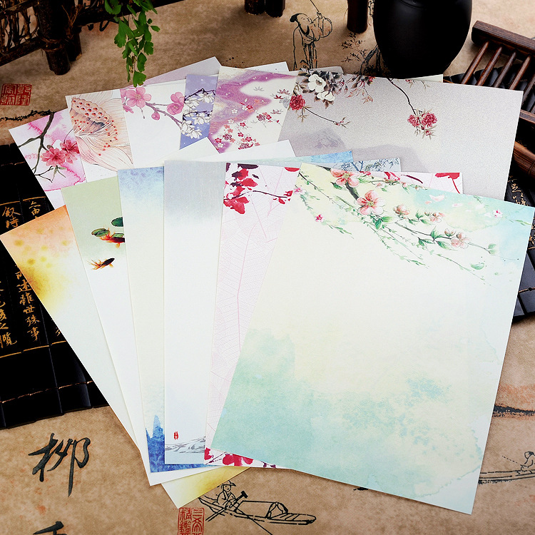 8pcs/lot Vintage Retro Chinese Ancient Style Flower  Letter Paper Set Stationery Letter Pad For School Office