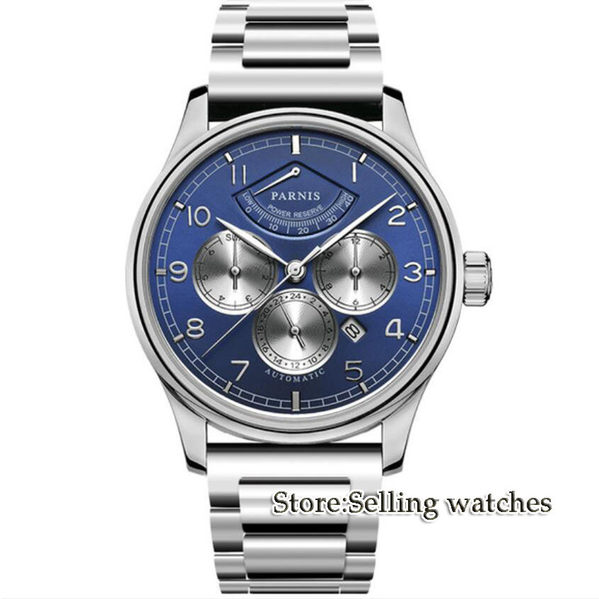 NEW Arrive 42mm PARNIS blue Dial Power Reserve Indicator Moon Phase Steel Band Luxury MIYOTA Automatic Movement men's Watch luxury brand 42mm parnis black dial white dial date 24 hour power reserve moon phase miyota 9100 automatic mens wrist watch p560