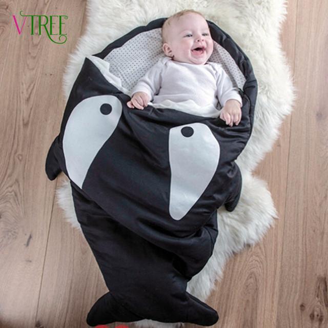 Antikicked Tiburón Bebé Saco de dormir de algodón Animal Shapes Bebé Sirena de Cartón Manta Bolsa De Dormir Para Niños/bebe