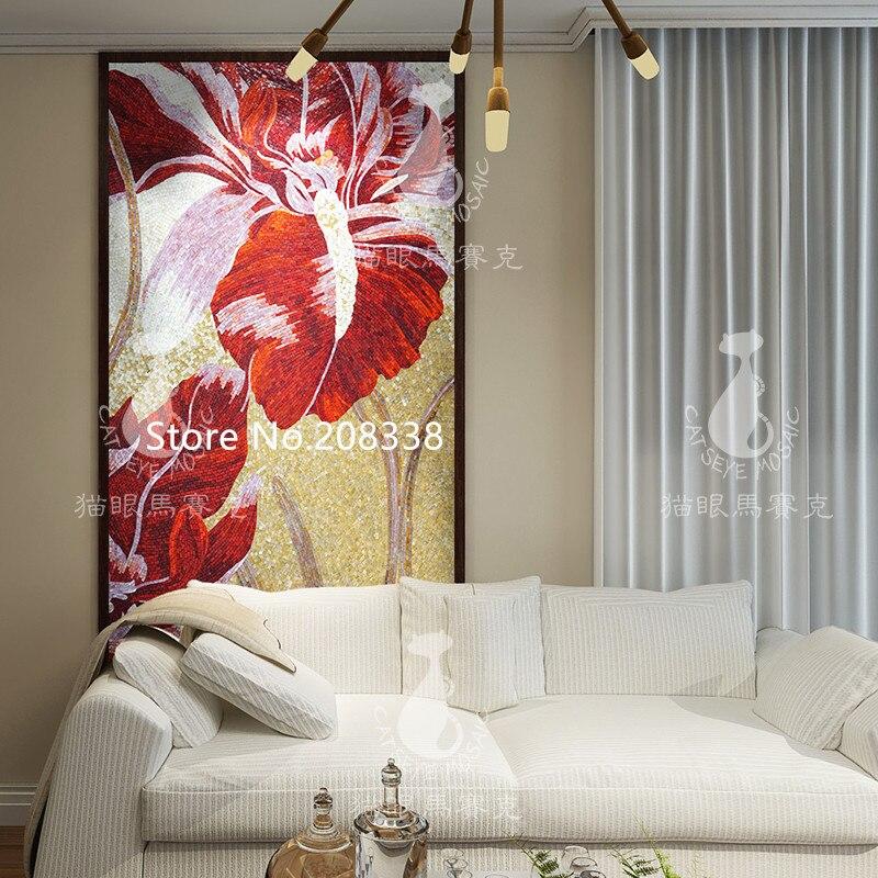 Великолепная Цветочная стеклянная мозаичная плитка художественная настенная роспись - 3