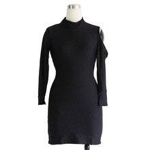 Spring Club Robe Dresses Wholesale Hot Sale Black High neck Cut-out Women Spring Club Dresses Plus Size Dress