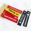 100 pçs/lote Remova Antes do Vôo Personalizado Tecido Durável Bordado Lable Tag Da Bagagem Zipper Pull Keychain do anel Chave Atacado