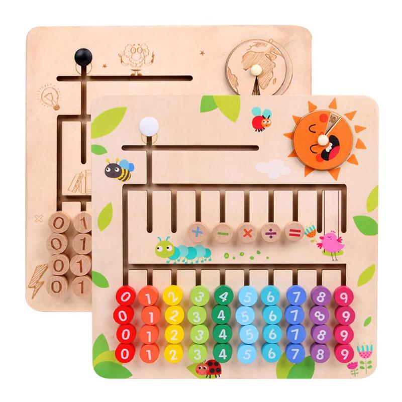 Math Toys Multifunction Wooden Counting Cognition Board Montessori Toy
