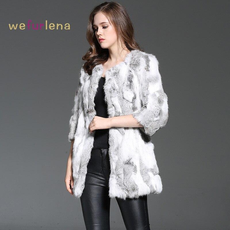 Welfurlena Rushed Direct Selling Medium O-neck 2017 Women Rabbit Fur Coat 100% Real Genuine Jacket Style Winter Fashion Natural