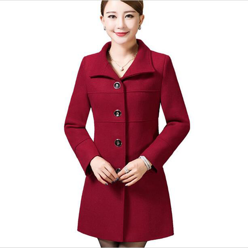 Middle Aged Women Wool Coat Nice Autumn Winter Mother Fashion Slim Long Sleeves Wool Coat High Quality Solid Color Coat LU211 - 3
