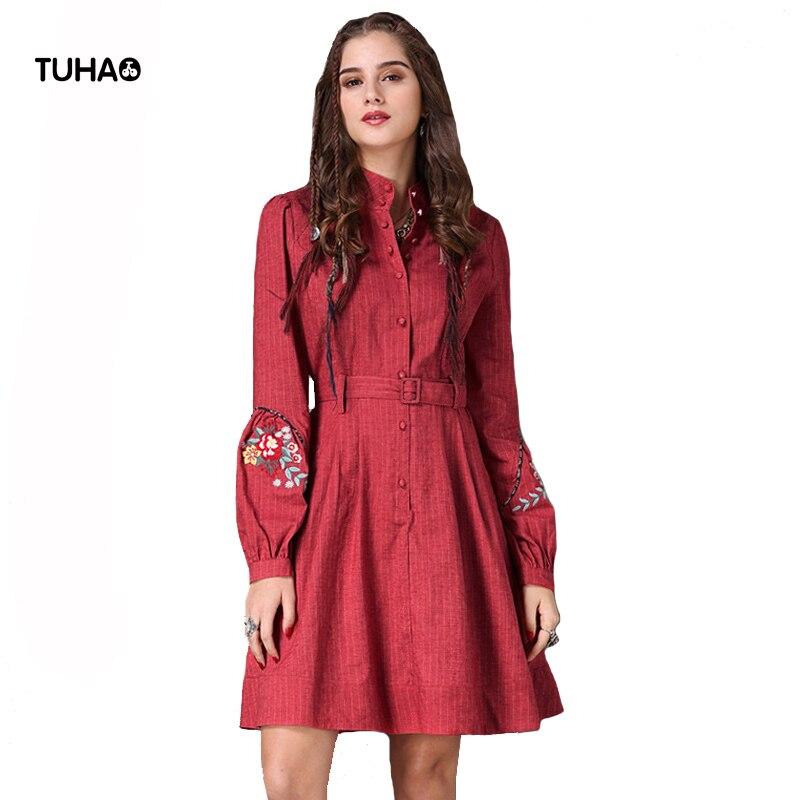2018 coton linge robes femmes Floral broderie taille haute bohème robe avec ceintures poches élégant robe T2067