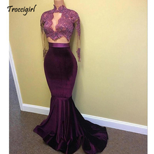Sexy African Black Girl Prom Party Dresses 2019 Lace Long Sleeves HIgh Neck Mermaid Evening Gowns