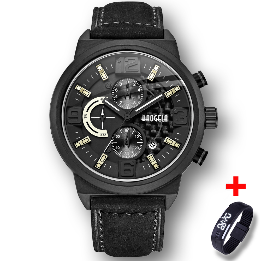 Hot Dropship Watch Mens Chronograph Black Stainless Steel Genuine leather Military Sport Quartz Wrist Watches Luminous with gift attractive hot sale mens stainless steel case sport black pu leather lcd digital quartz wrist watch sp17