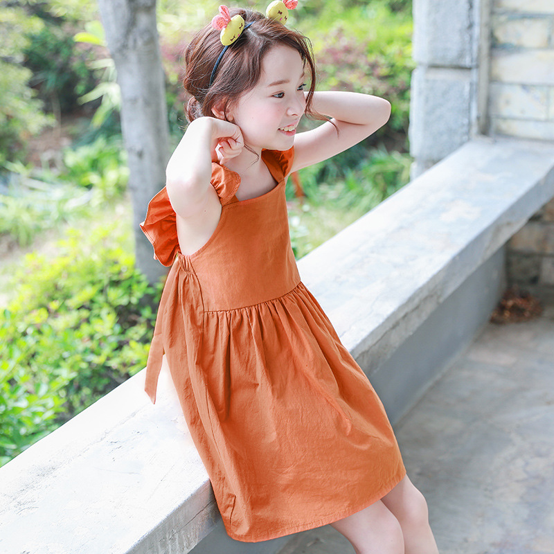 backless 2019 summer bohemian style girls dress sundress for girls flare sleeve beach dress kids clothes 5 6 7 8 9 10 11 14 T in Dresses from Mother Kids