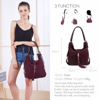 Women Real Split Suede Leather Shoulder Bag Female Leisure Nubuck Casual Handbag Hobo Messenger Top-handle bags 1