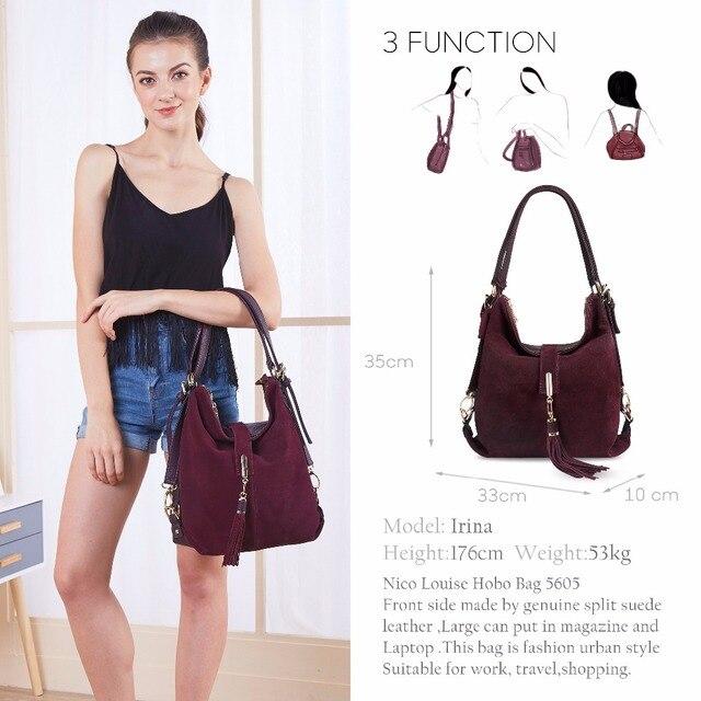 Women Real Split Suede Leather Shoulder Bag Female Leisure Nubuck Casual Handbag Hobo Messenger Top-handle bags 1