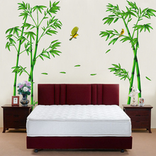 Green Bamboo Plant Birds Pastoral Style Wall Sticker Decoration Mural Decal