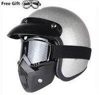 free gift motorcycle vespa helmet vintage open face 3/4 helmet motocross jet retro capacete casque moto helmet