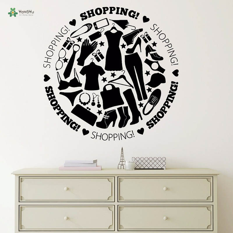 YOYOYU Vinyl Wall Decal Clothing Shopping Store Fashion Trend Women Love Modern Art Decoration wall Stickers FD272