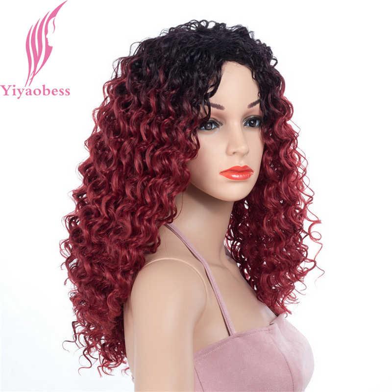 Yiyaobess 22 дюймов афро коричневый черный красный Омбре синтетический кудрявый парик длинные афроамериканские парики для женщин Peruca Термостойкое волокно
