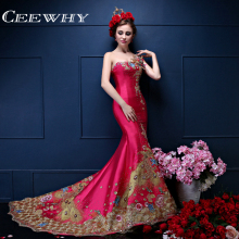 Custom Made Taffeta Embroidery Major Beading One-Shoulder Court Train Mermaid Luxury Evening Dress 2017 Celebrity Prom Dresses