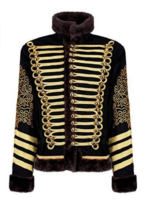 Men's Black Gold Hussar Steampunk Parade Jacket men's Hussar jacket with Faux Fur