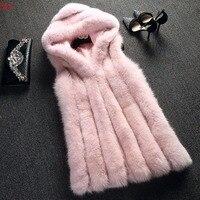 Top Luxurious Women Winter Vests Fashion Hooded Sleeveless Solid Warm Waistcoat Faux Fox Fur Vest Coat Plus Size Outerwear Parka