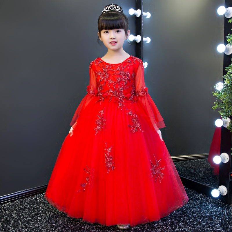 цена на Children Girls Luxury Elegant Red Color Sweet Lovely Flare Sleeves Princess Lace Party Dress Kids Babies Birthday Wedding Dress