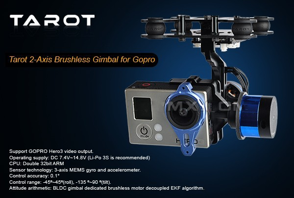 Multi Rotor Helicopter Part Tarot GOPRO 2-Axis Brushless gimbal PTZ with control gyro TL68A00 2015 hot sale quadcopter 3 axis gimbal brushless ptz dys w 4108 motor evvgc controller for nex ildc camera