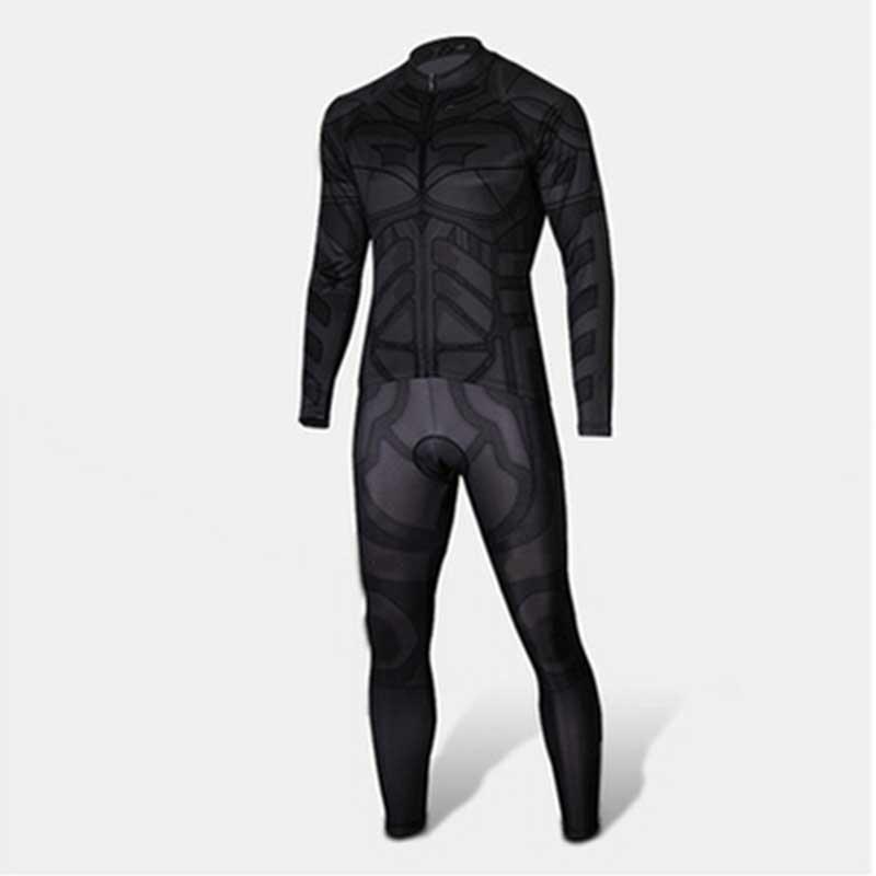 Super Hero black batman jersey man kids bike bicycle wear long sleeves ropa ciclismo clothing size