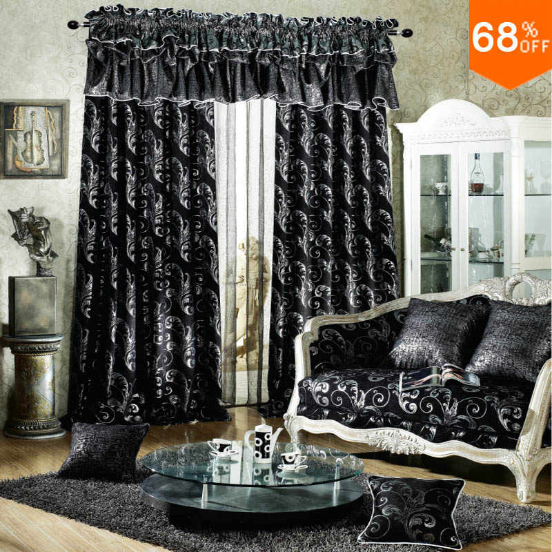 Black luxurious Rod Stick Hang style Living Room curtains ...