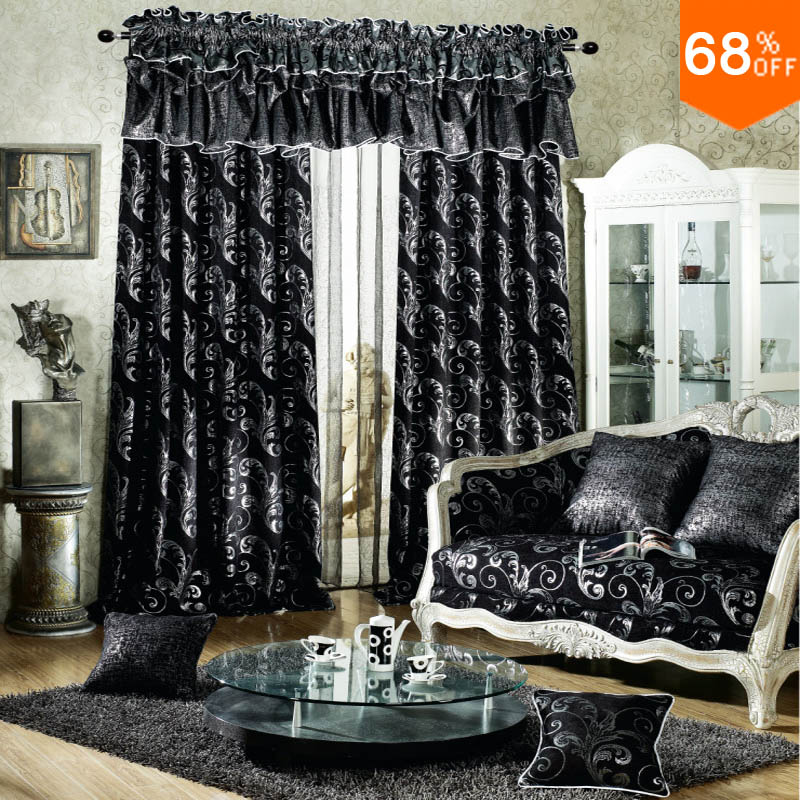 Black Luxurious Rod Stick Hang Style Living Room Curtains For Restaurant Dark Grey And Silver Color Blackout Curtain