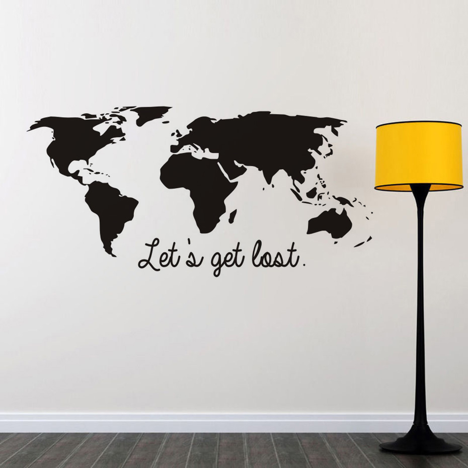 Lets get lost black color world map wall sticker vinyl diy world lets get lost black color world map wall sticker vinyl diy world travel view mural art for office bedroom decoration decals in wall stickers from home amipublicfo Images