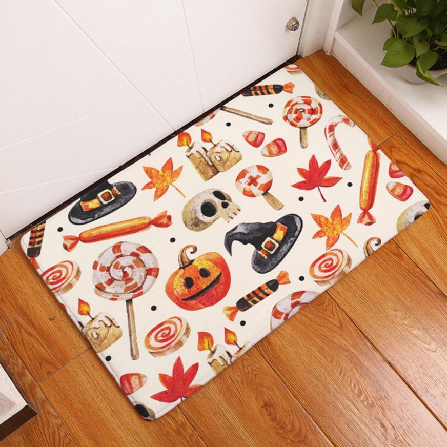 1pcs 40 60 cm halloween home non slip door floor mats hall rugs kitchen bathroom carpet decor - Halloween Rugs