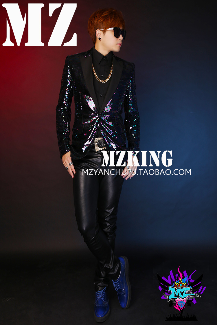 Male singer Colorful purple <font><b>green</b></font> slim <font><b>sequins</b></font> <font><b>jacket</b></font> costume DJ dazzle appearance host guest suit bar <font><b>men's</b></font> club stage coat image