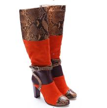 Hot Sexy Fashion Mixed Colors Flock Knee-Hight Shoes Zip Round Toe Womens Square Heel Big Size WomenS Boots