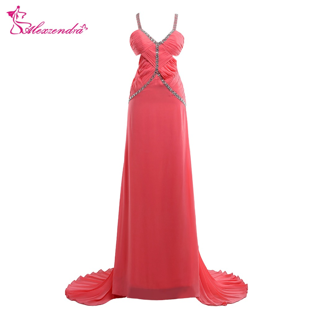 Alexzendra Pink Beaded A Line   Prom     Dresses   with Straps Crystals Sweetheart Unique Back Evening Gowns Party   Dress
