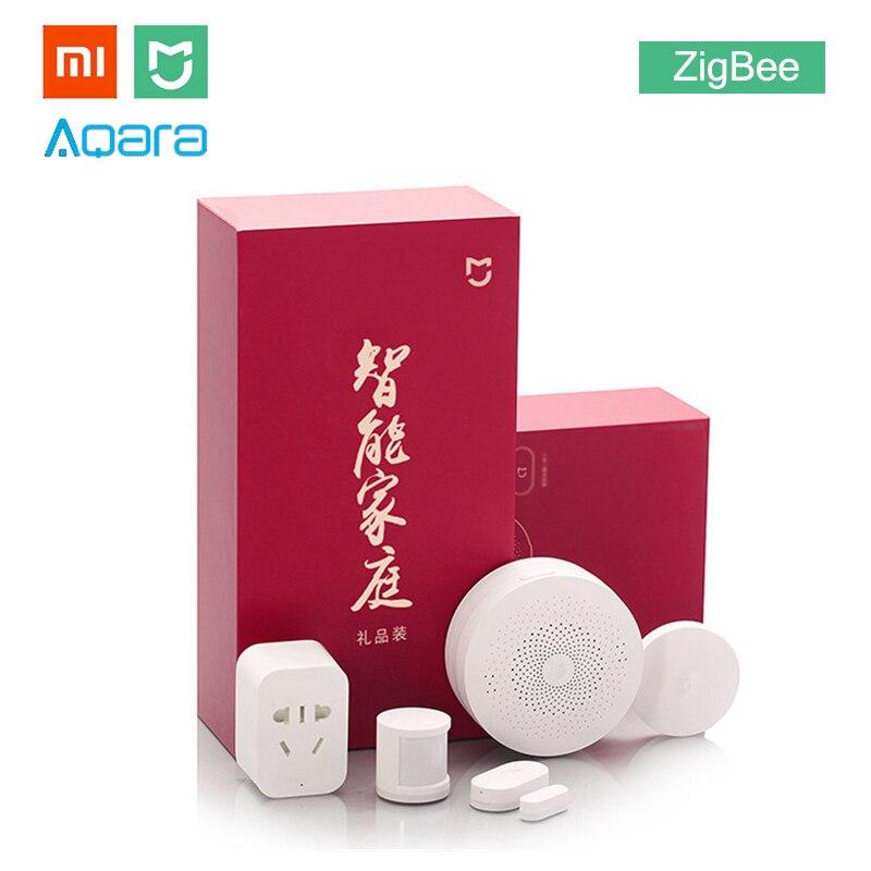 Xiaomi MIJIA Aqara 5 en 1 Kit maison intelligente paquet ZigBee prise passerelle Hub corps humain fenêtre porte capteur sans fil commutateur Mini