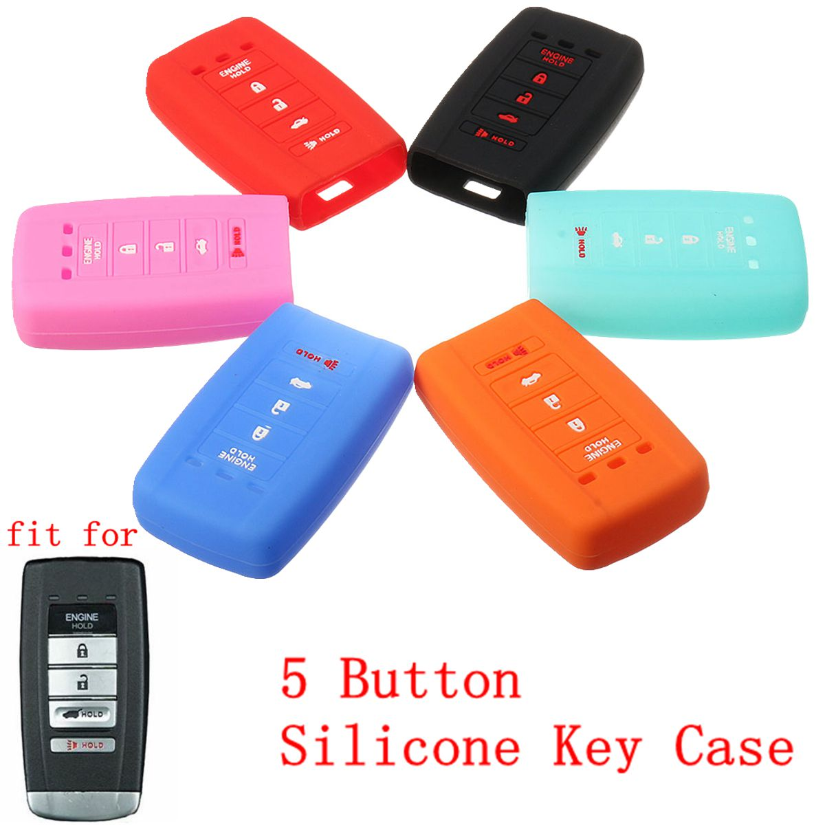 5 Button Silicone Key Shell Fob Remote Case Cover For