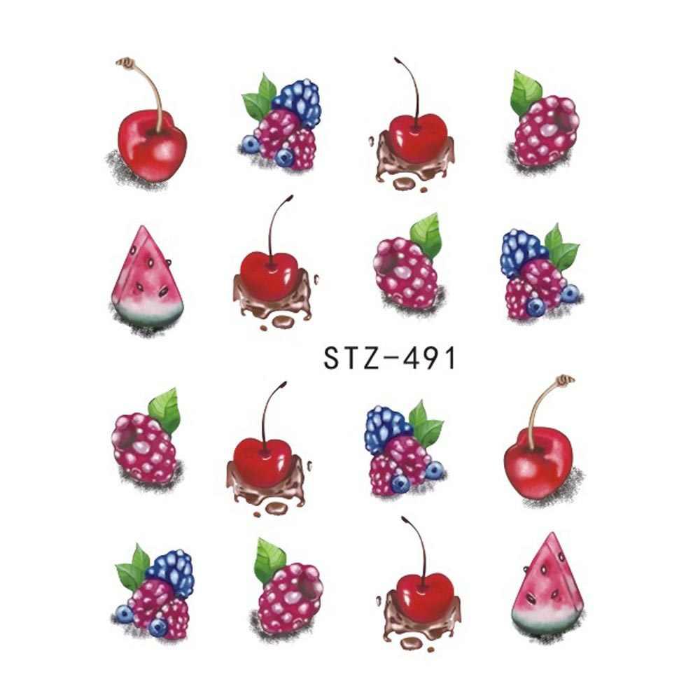 1 قطعة الصيف الفراولة الفاكهة الشرب ملصقات للأظافر مانيكير مسمار الفن تصميم نقل المياه المائية الجمال الشارات TRSTZ