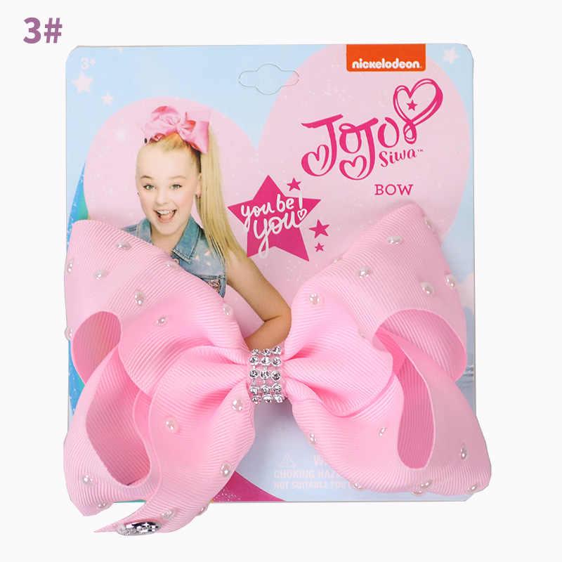 """5 """"твердые Jojo Сива с жемчугом серии вечерние пользу волосы луки для девочек с зажимами Jojo Луки бантом ручной работы, украшения для волос"""