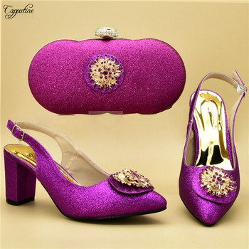 Graceful fuchsia wedding/party poited toe pump shoes and evening handbag set for lady 108-1 heel height 7cm