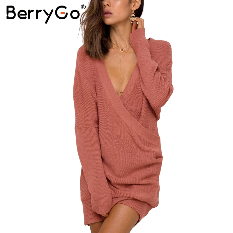 BerryGo Sexy V neck cross knitted sweater Women elegant long sleeve pullover Female autumn winter sweater casual pull jumper