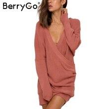 Berrygo Sexy V шеи крест вязаный свитер Для женщин Элегантный пуловер с длинным рукавом Женские на осень-зиму свитер свободного покроя тянуть джемпер