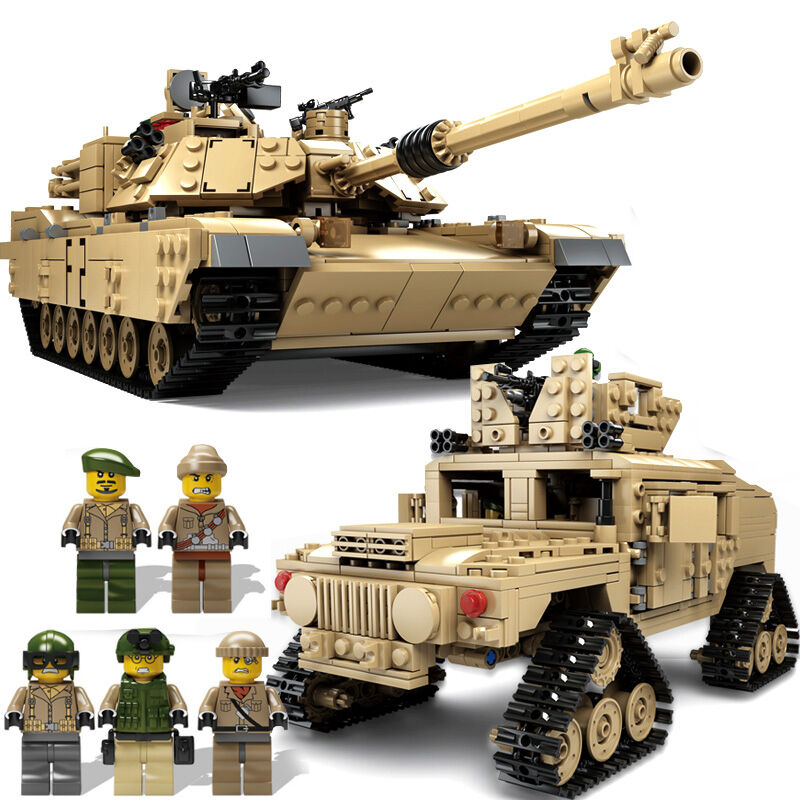 Kazi Military M1A2 Tank Collection Series Trans Toys 1:28 ABRAMS MBT HUMMER Model Building kits Blocks compatible with lego kazi large military 1463pcs 2in1 tank hummer building blocks bricks army war models toys for boys children compatible lepin