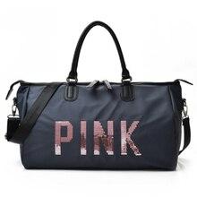 Купить с кэшбэком women's traveling bag black blue sequins woman handbag shoulder bag portable ladies handbags weekend waterproof wash Travel Bags