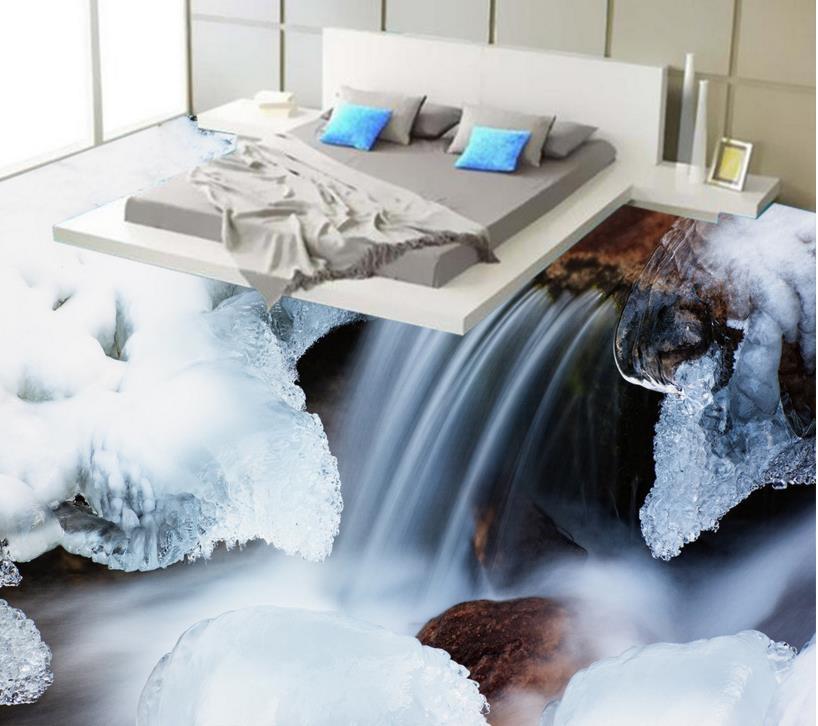 ФОТО High quality 3d floor roll custom 3d flooring river snow non-slip wear thickend self-adhesive wallpaper